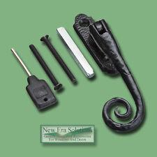 Black UPVC window handles, Monkey Tail Locking, Traditional Cast Iron Style.