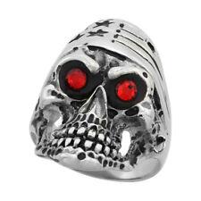Stainless Steel Biker Skull Ring w/ American Flag Bandana & Red CZ Stones Eyes
