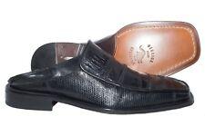 David Eden 501346 Mens black crocodile and lizard slides