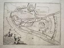 Lüttich Liege Belgien Meuse echter alter Kupferstich 1695
