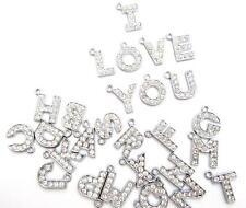 5 Alphabet ABC Letter Crystal Rhinestone Charm/Bead/Bracelet/Pandent K42-Word
