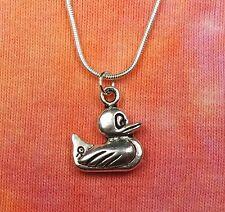 "Rubber Duck Necklace, pick 16 - 36"" silver chain, Duck Duckie Derby Race Jewelry"