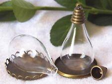 DIY Globe Glass Teardrop Bottle Pendant 30X18mm with Bronze EndCap Memory Locket