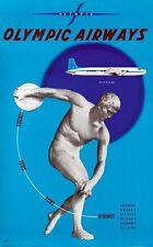 Vintage Olympic Greek Airways Poster A3 Print