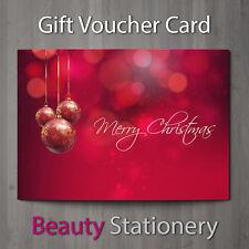 Christmas Gift Voucher Blank Beauty Salon Card Coupon Massage Therapist A7+Env.