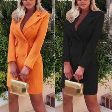 Womens Dress Ladies Office Dress Autumn Long Sleeve Blazer Solid Formal