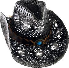 CAPPELLO in Paglia Cappello Cappello con nastro nero/bianco sfiammatura