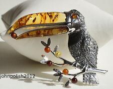 ámbar báltico hermoso Pájaro Colgante con Plata 925