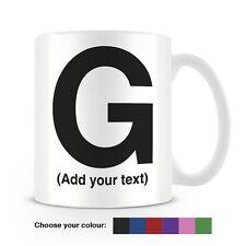 Helvetica lettera G Tazza da caffè-può essere personalizzata-aggiungi il tuo nome - 6 COLORI