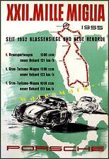 Porsche 1955 Mille Miglia Sports Racing Vintage Poster Print Italian Car Races