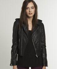 Neue Damen Superdry Leder Leder Jacke Premium BikerBlack