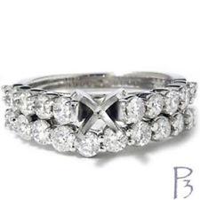 1 1/2ct Diamond Engagement Bridal Ring Set Mounting 14K White Gold