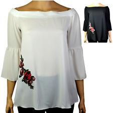 Plus Size Floral Applique Motif Bardot Haut Chemisier, Ivoire Ou Noir Tailles 16-30