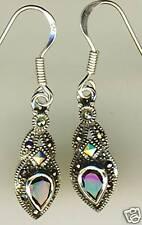 """925 Sterling Silver Garnet & Marcasite Drop / Dangle Earrings 35mm  1.3/8"""""""