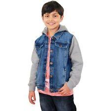 Kids Boys Denim Jacket Fleece Sleeves & Hood Fashion Blue Jackets Coat 2-13 Year