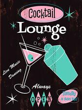 Cocktail Lounge Always Open, Retro Metal Plaque, Pub, Bar, Man Cave