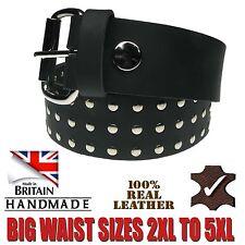 Real Leather Handmade In UK Flat Rivet Design Big Sizes Removable Buckle Belt