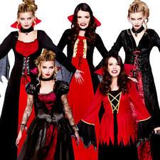Vampire Dress + Fangs Ladies Halloween Fancy Dress Horror Spooky Womens Costumes