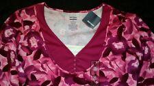 New Pink Purple floral cotton 3/4 sleeve Ladies plus top  2X Layer look
