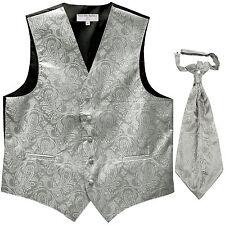 New Men's Paisley Tuxedo Vest Waistcoat & Ascot Cravat Wedding Prom Silver