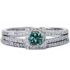 3/4ct Treated Blue Diamond Princess Halo Diamond Engagement Birdal Ring Set 14K