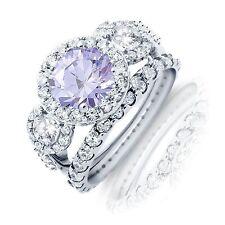Wedding Engagement Ring Set Brilliant Lavender Halo Sterling Silver