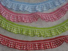 1m VENO Rüschenband, Zierband, Borte Karo, kariert, 4 Farben, elastisch