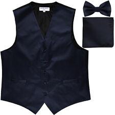 New Men's formal vest Tuxedo Waistcoat_bowtie & hankie set navy blue wedding