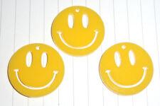80s Retro Acid House Smiley Face pendant charms x 3 kitsch Kawaii