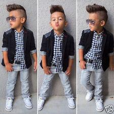 3PCS Toddler Baby Boys Outfits Suit Coat/ Plaids Shirt/ Denim Pants Clothes Set