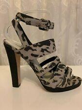 Karen Millen Leopard Animal Suede Leather Platform Dress Party Sandal Shoes 7 40