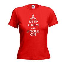 Keep Calm And Jingle On Funny Christmas Inspired Cool Xmas Gift Ladies Tshirt