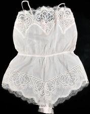 New Victoria's Secret Floral Dream Angels Crochet Lace Romper White Lingerie
