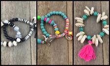 Colourful Beaded Shell Native Ethnic Bracelet Gypsy Aztec Beachy Indian Tibet