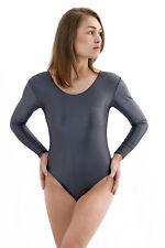 Damen Wetlook Body Rundhals lange Ärmel verschiedene Farben Glanz Elasthan S-XL