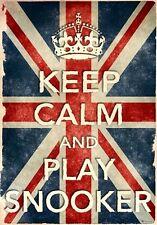 Kcv24 Vintage Union Jack Keep Calm jugar billar Funny cartel impresión a2/a3/a4