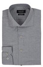Slim / Tailored Fit Extra Spread Collar Mens Grey Dress Shirt Wrinkle-Free AZAR