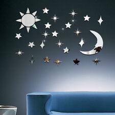 Sonne Mond Sterne Set Spiegel Deko Goldspiegel Kunststoff PS mit Klebepunkt