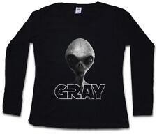 Gray alieno Invader II Da Donna Manica lunga T-SHIRT GREY UFO Vril 12 Grey Area alieni 51