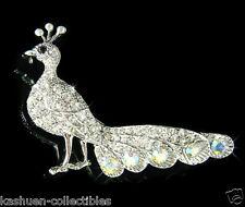 w Swarovski Crystal PEACOCK peafowl Peahen bird wildlife Jewelry Pin Brooch Xmas