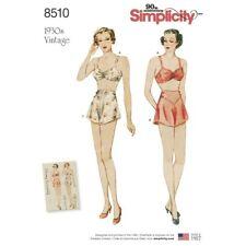 Simplicity Sewing Pattern 8510 Women's Vintage 1930s Underwear Bras