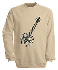 Sweatshirt S M L Xl Xxl 3Xl 4Xl Motiv Shirts Metall Gitarre 10252-1 sand