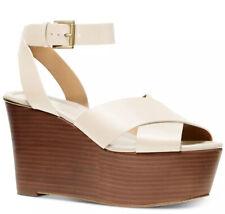New Michael Kors Abbott stacked Platform wedge sandals light cream 10 leather