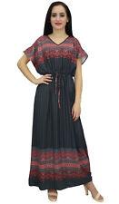 Bimba Femmes Cordon Taille Robe Gris Decontracte Boheme Longue Robes Maxi