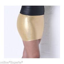 Mini Skirt METALLIC GOLD Shiny Holo Lycra Party Club Wet Look Bodycon Womens S37