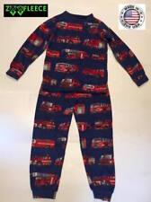 ZooFleece Red Fire Trucks Fleece Engines Boys Blue Kids Pajama PJ Sweatsuit Baby