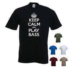 """""""Keep Calm and Play Bass"""" MUSICA BAND CHITARRA ELETTRICA T-SHIRT TEE REGALO"""