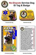 Service Dog ID Tag and Badge PTSD custom photo id for pet customized YELLOW