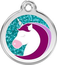 médaille acier inox gravée chien chat red dingo licorne à paillettes 3 tailles