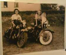 1940 Two Lovely Women Biker Girls On Big Harley-Davidson Motorcycles Poster Repo